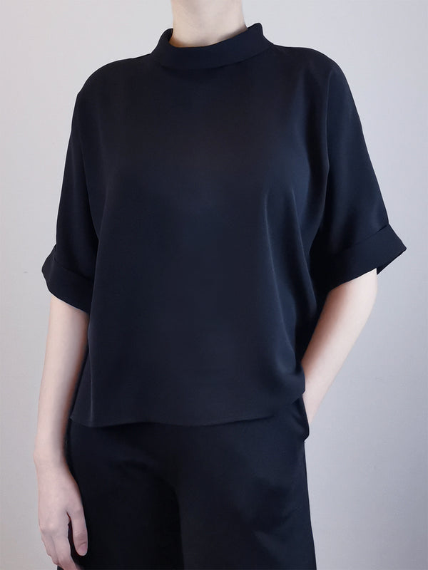 Rolled Collared Blouse -Black
