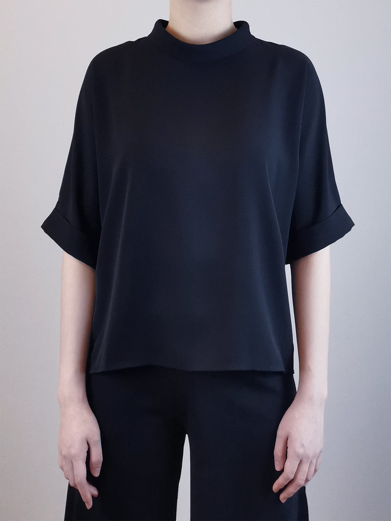 Women Rolled Collared Blouse -Black