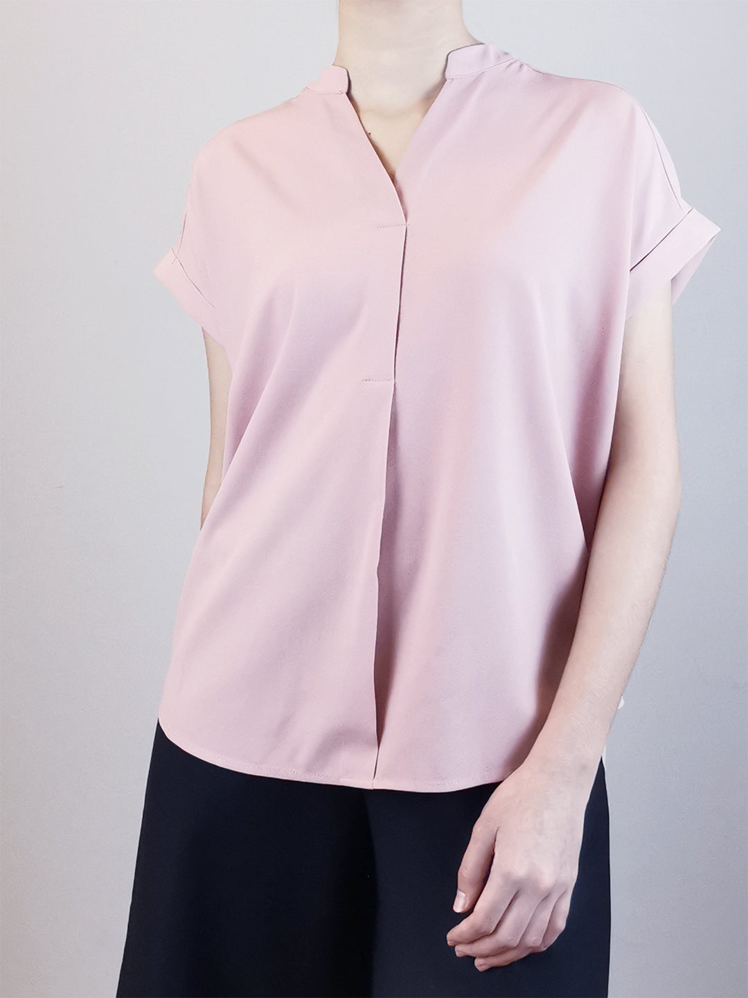 V-Neck Placket Blouse -Pink