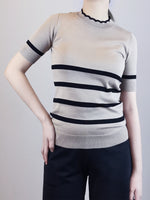Load image into Gallery viewer, Stripe Pattern Knit Top- Khaki
