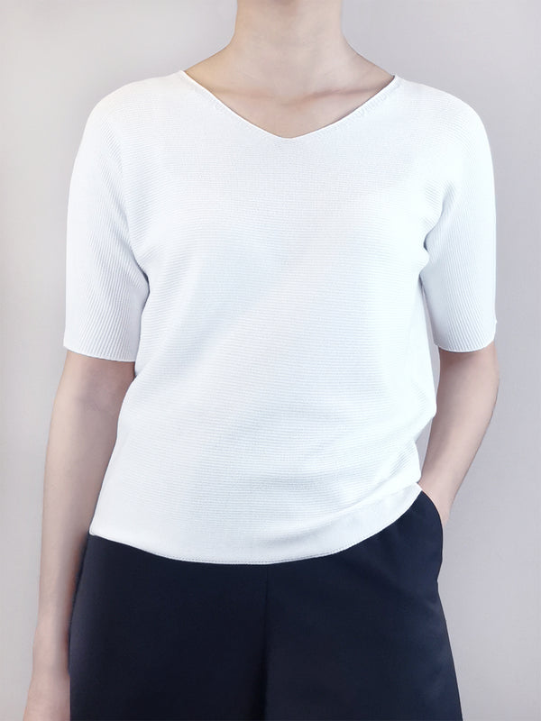 V-Neck Knit Top- White