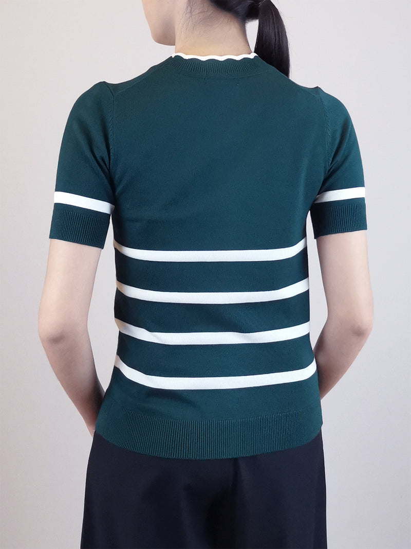 Women Stripe Pattern Knit Top- Green
