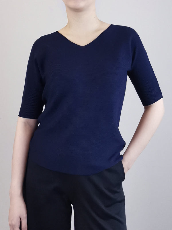 V-Neck Knit Top- Blue