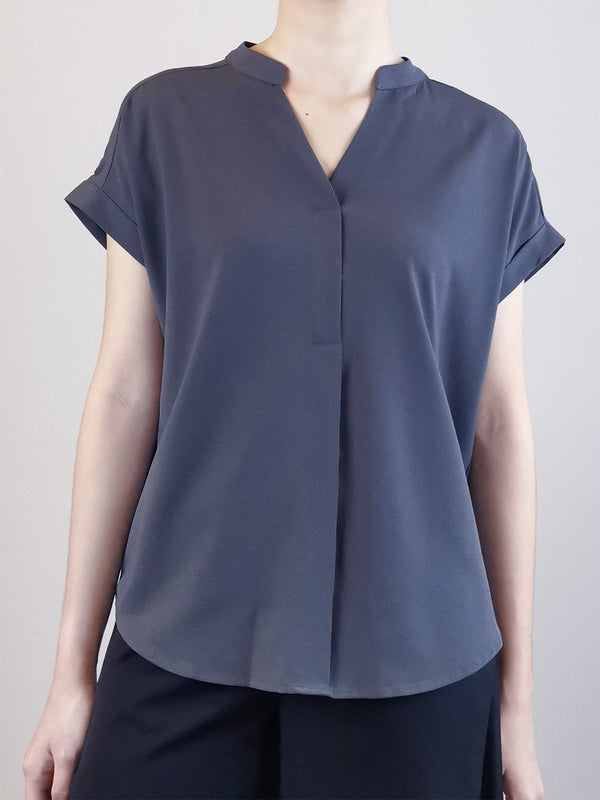 V-Neck Placket Blouse -Grey