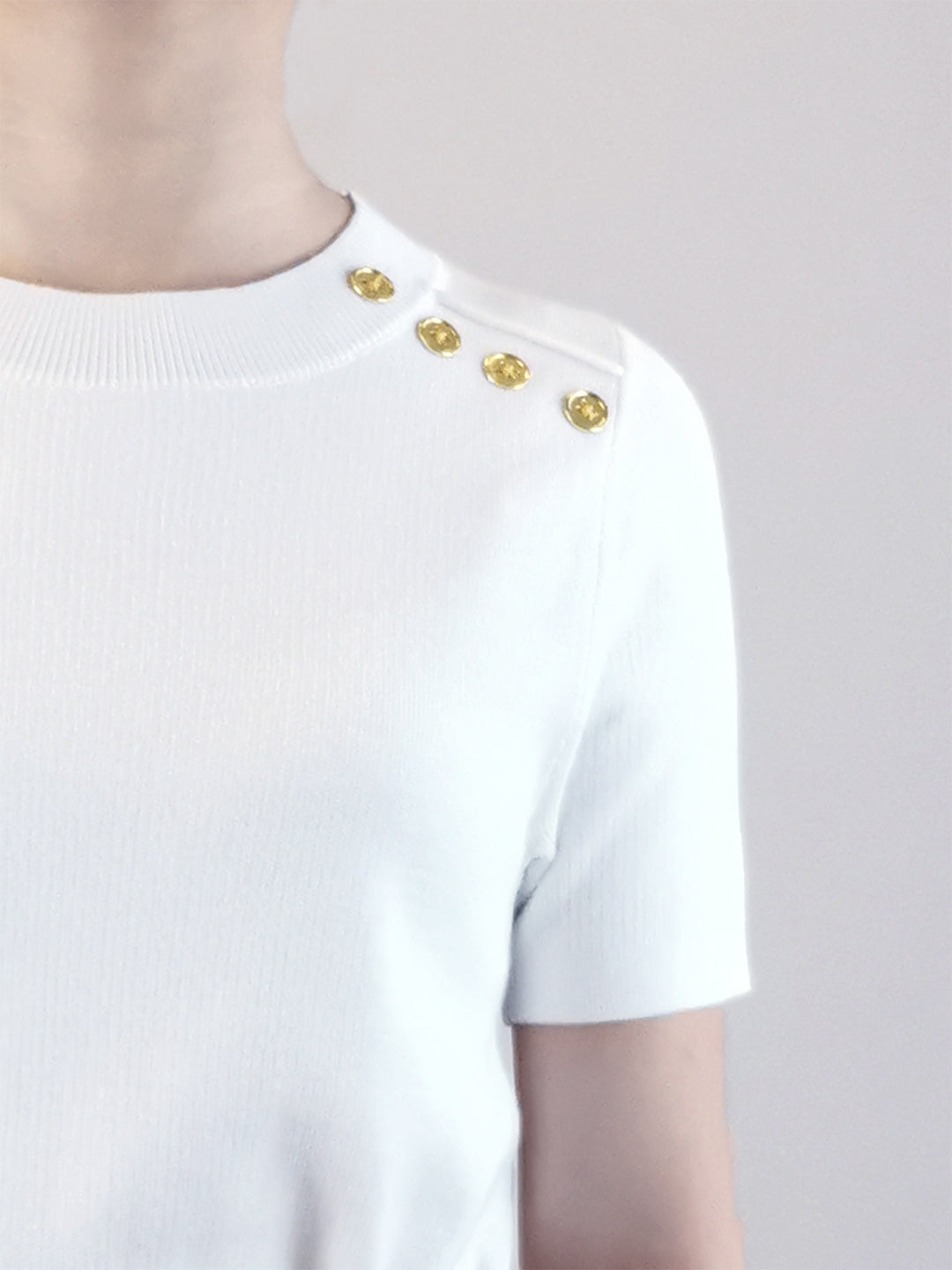 Gold Button Knit Top- White