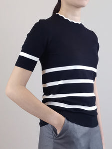 Stripe Pattern Knit Top- Black