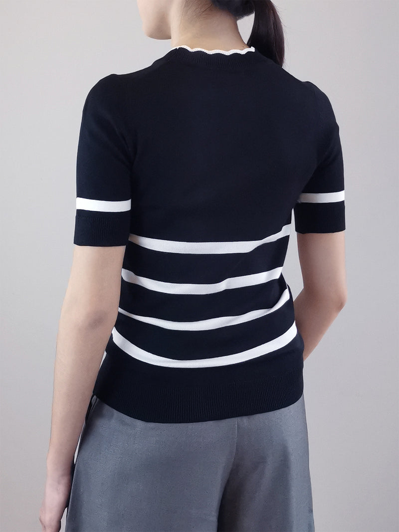 Women Stripe Pattern Knit Top- Black