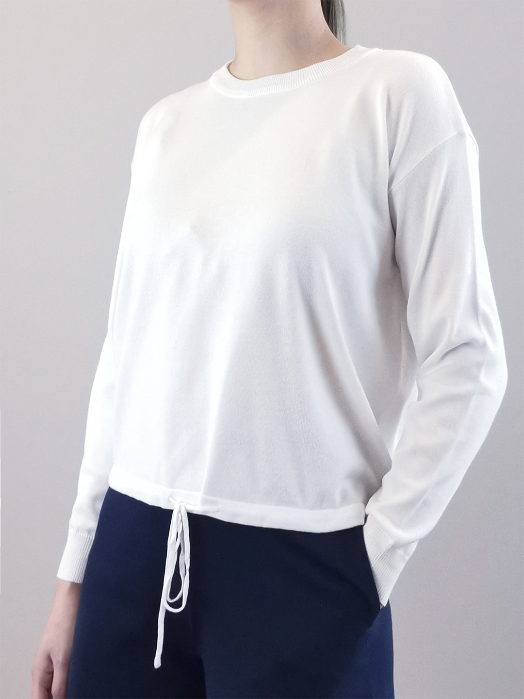 Long Sleeve Knit Top- White