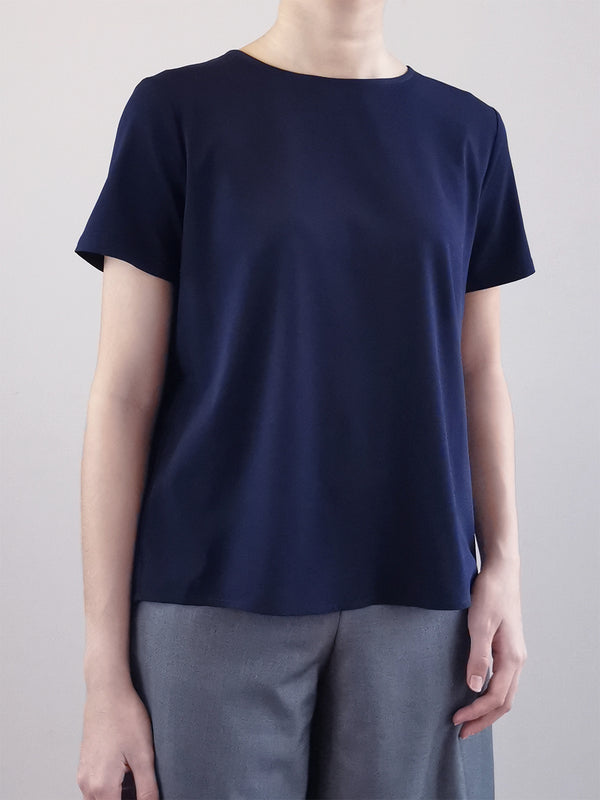 Back Pleated Blouse -Navy