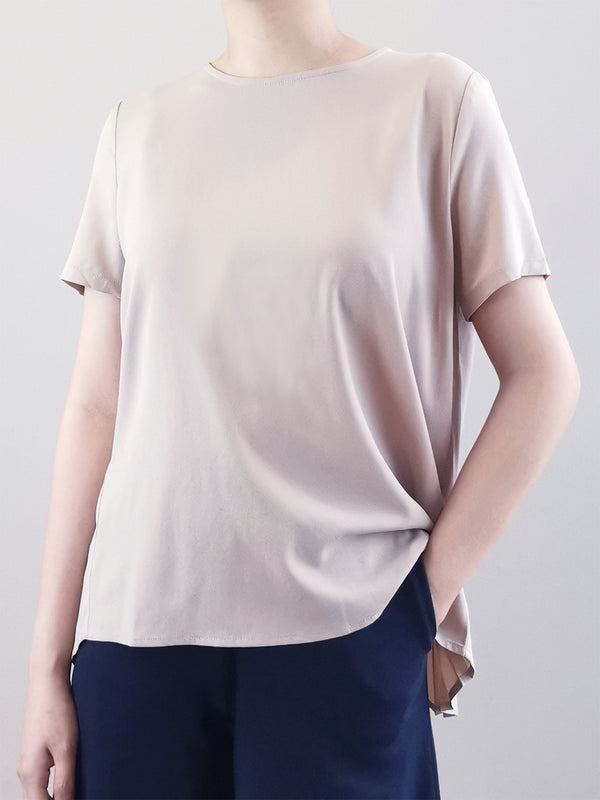 Back Pleated Blouse -Grey