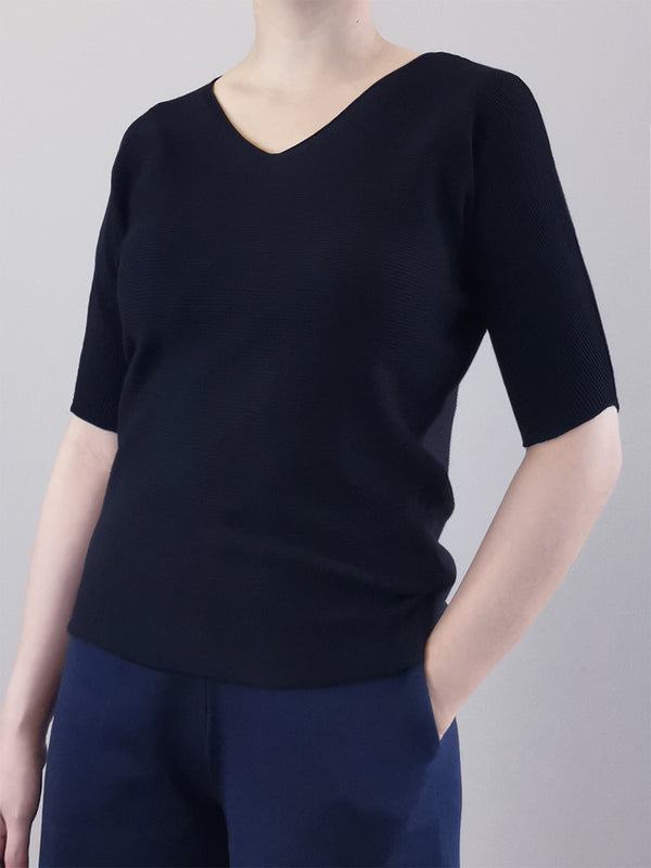 V-Neck Knit Top- Black