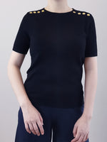 Load image into Gallery viewer, Gold Button Knit Top- Black