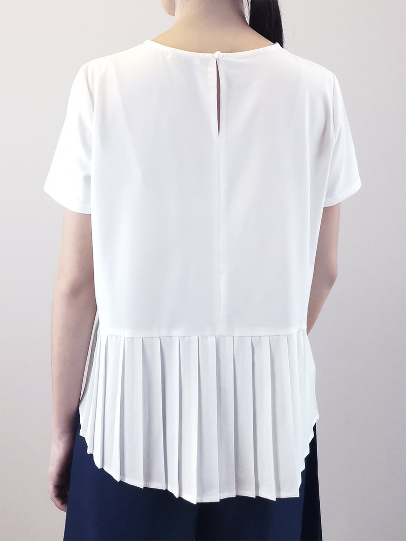 Women Back Pleated Blouse -White