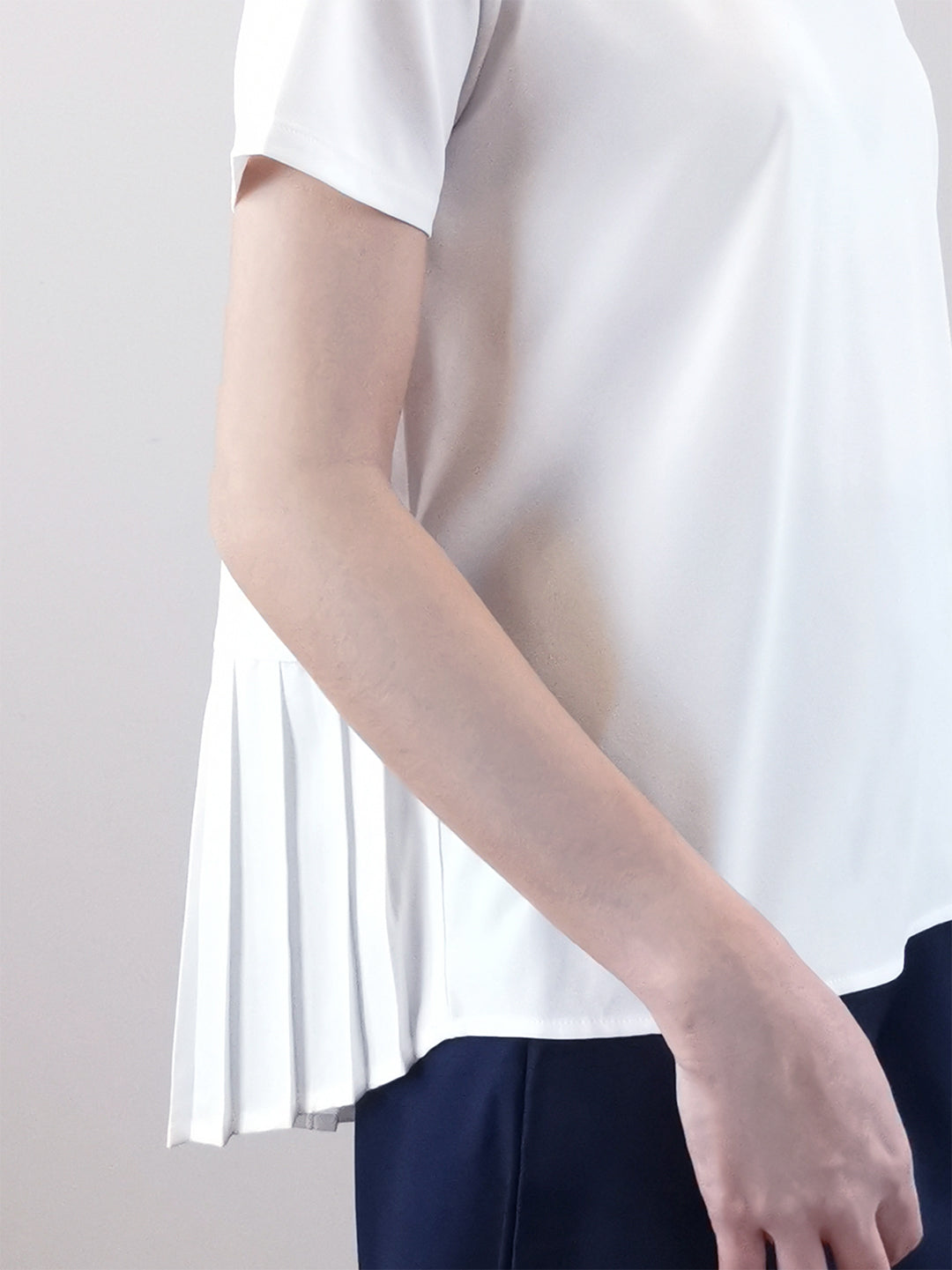 Back Pleated Blouse -White