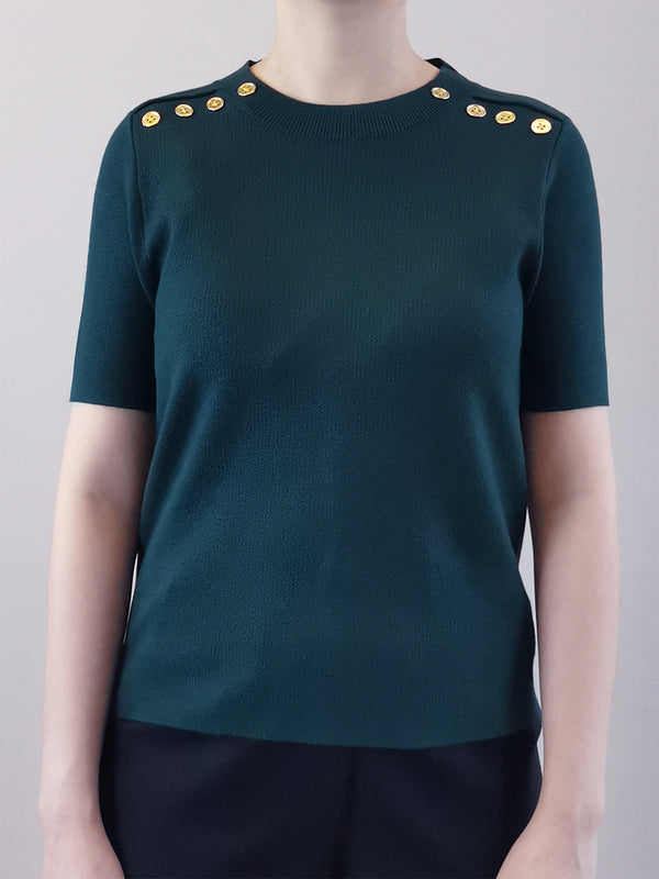 Gold Button Knit Top- Green