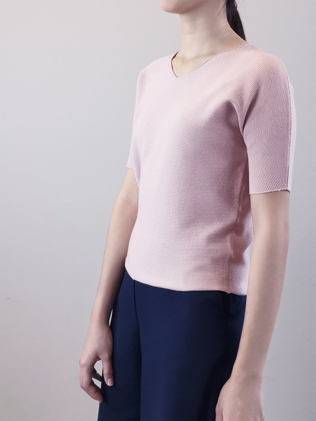 V-Neck Knit Top- Pink