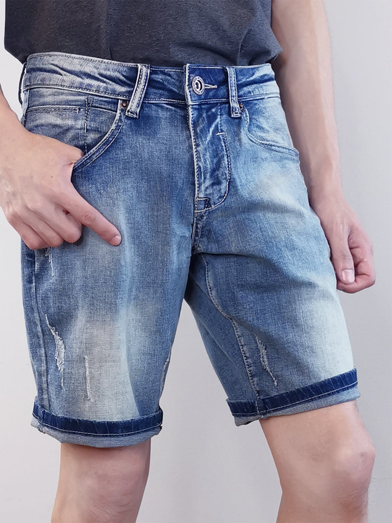 Ripped Denim Shorts - Blue