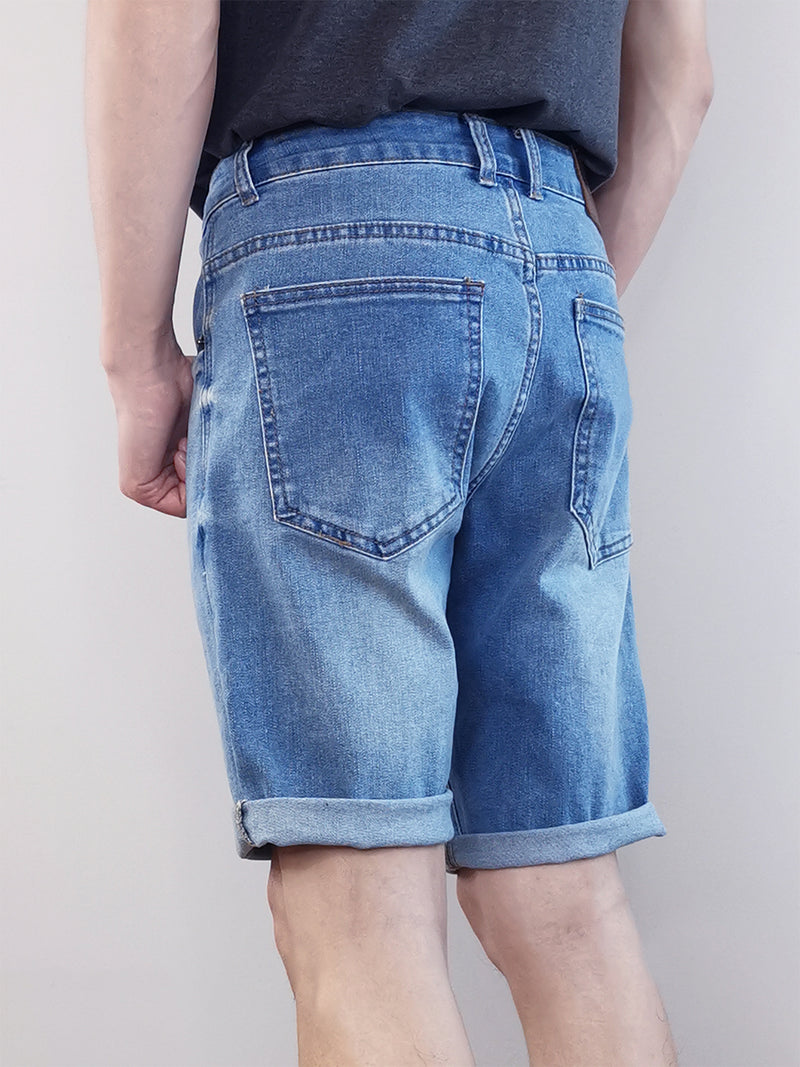 Men Denim Bermuda Shorts - Light Blue - M0M404