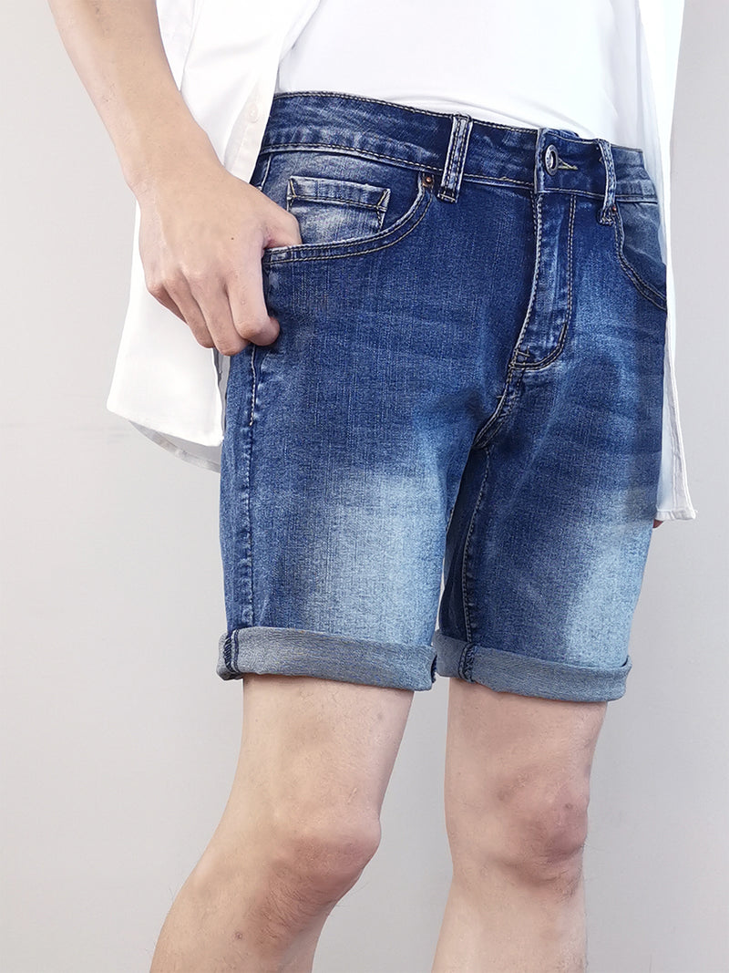 Faded Denim Shorts - Blue