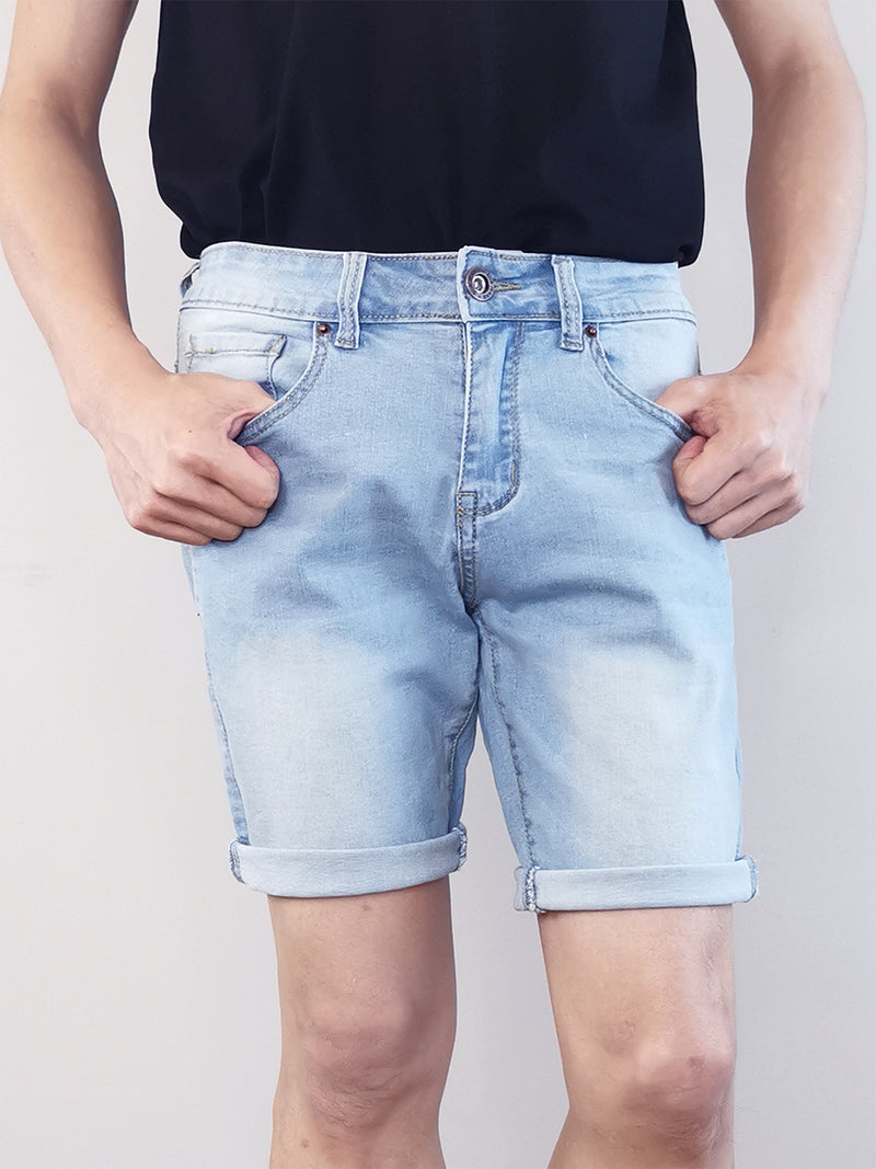 Men Faded Denim Shorts - Light Blue