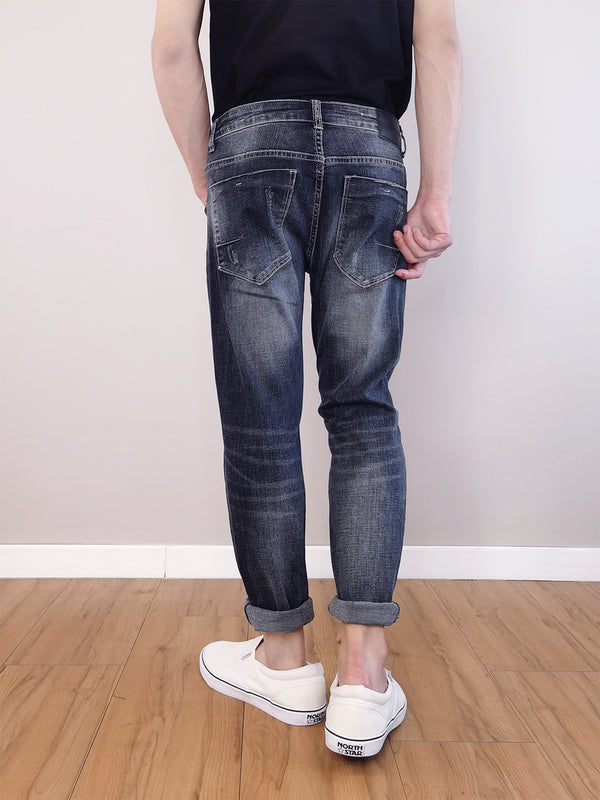 Men Slim Fit Jeans-Dark Blue