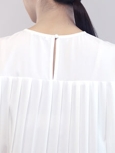 Pleated Detail Dress -White
