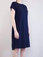 Load image into Gallery viewer, Pleated Detail Dress -Navy