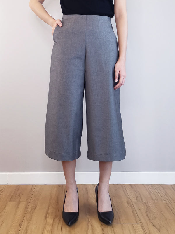 Women Wide-Leg Trousers-Grey