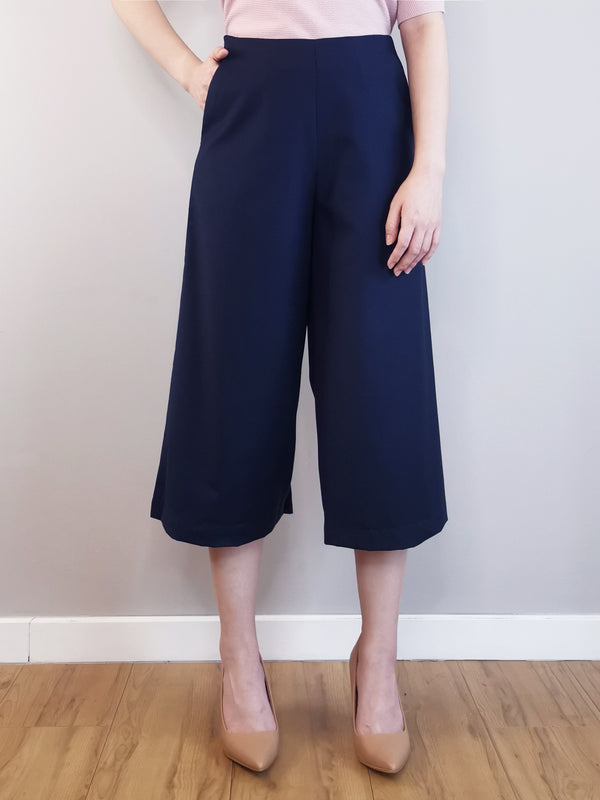 Women Wide-Leg Trousers-Navy