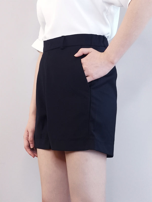 Women Elastic Shorts-Black