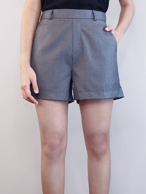 Women Elastic Shorts-Grey