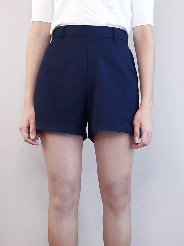 Women Elastic Shorts-Navy