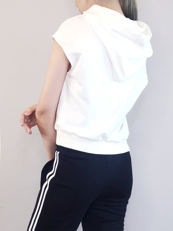 Women Sleeveless Sweatshirt Hoodie - White