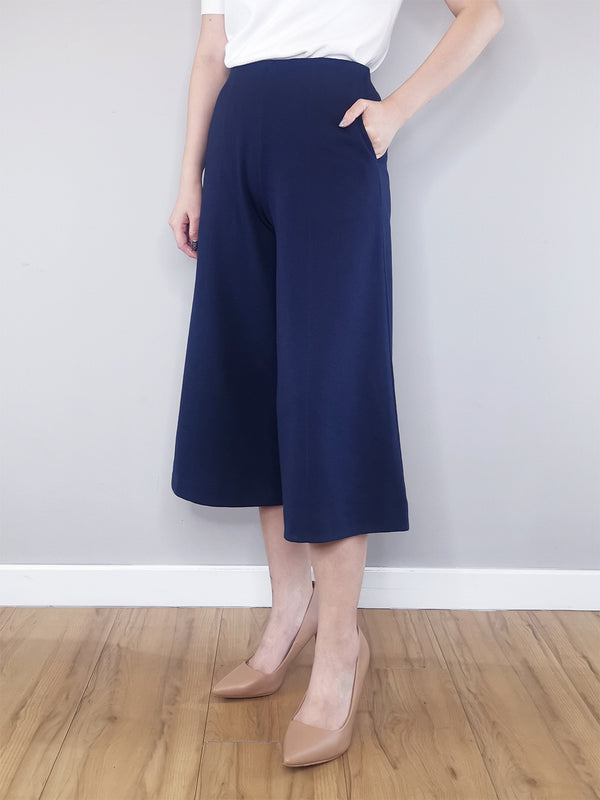 Women Culotte Trousers-Navy
