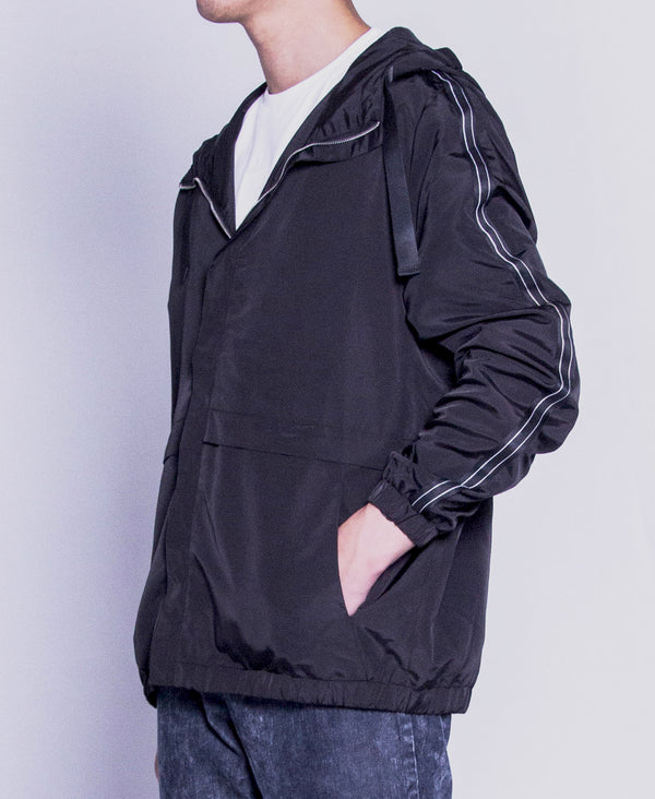 Men Hoodie Jacket - Black - F9M109