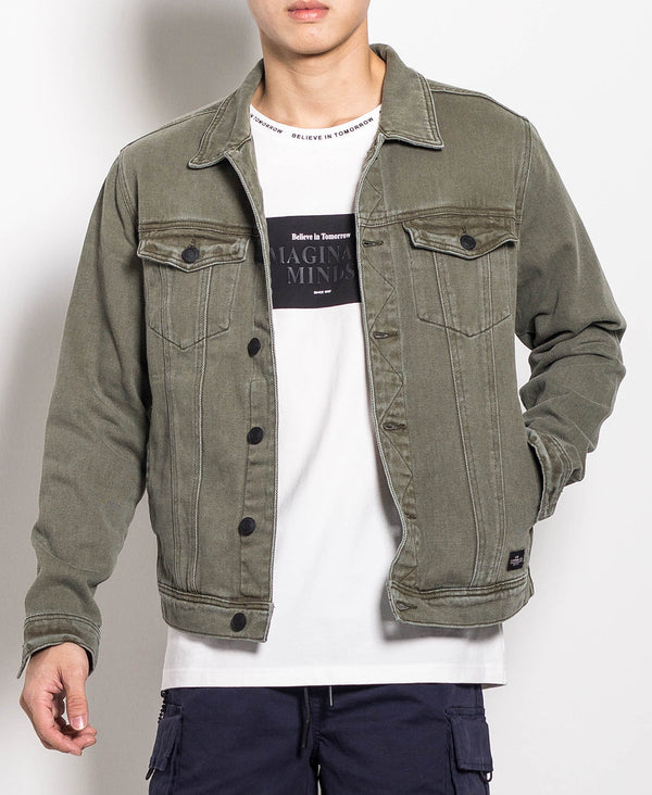 Men Denim Jacket - Army Green