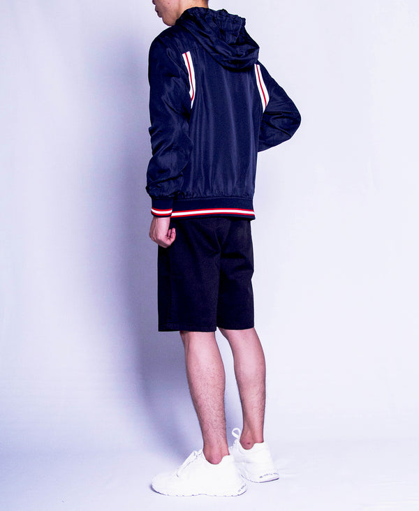 Men Long Sleeve Hoodie Jacket - Navy - F9M138