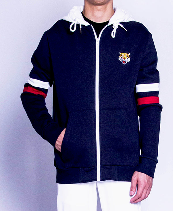 Men Long Sleeve Hoodie Jacket - Navy - F9M139
