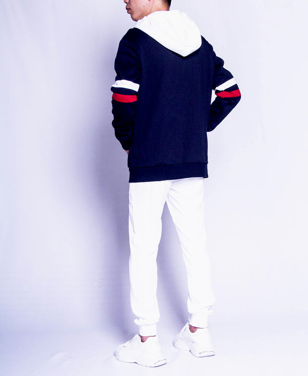 Men Long Sleeve Hoodie Jacket - Navy