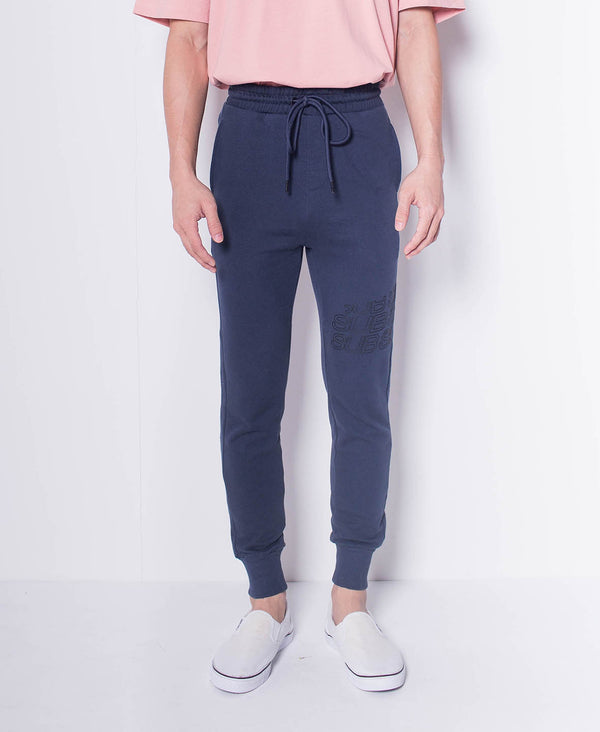 Men Knit Long Jogger With Logo Prints - Navy