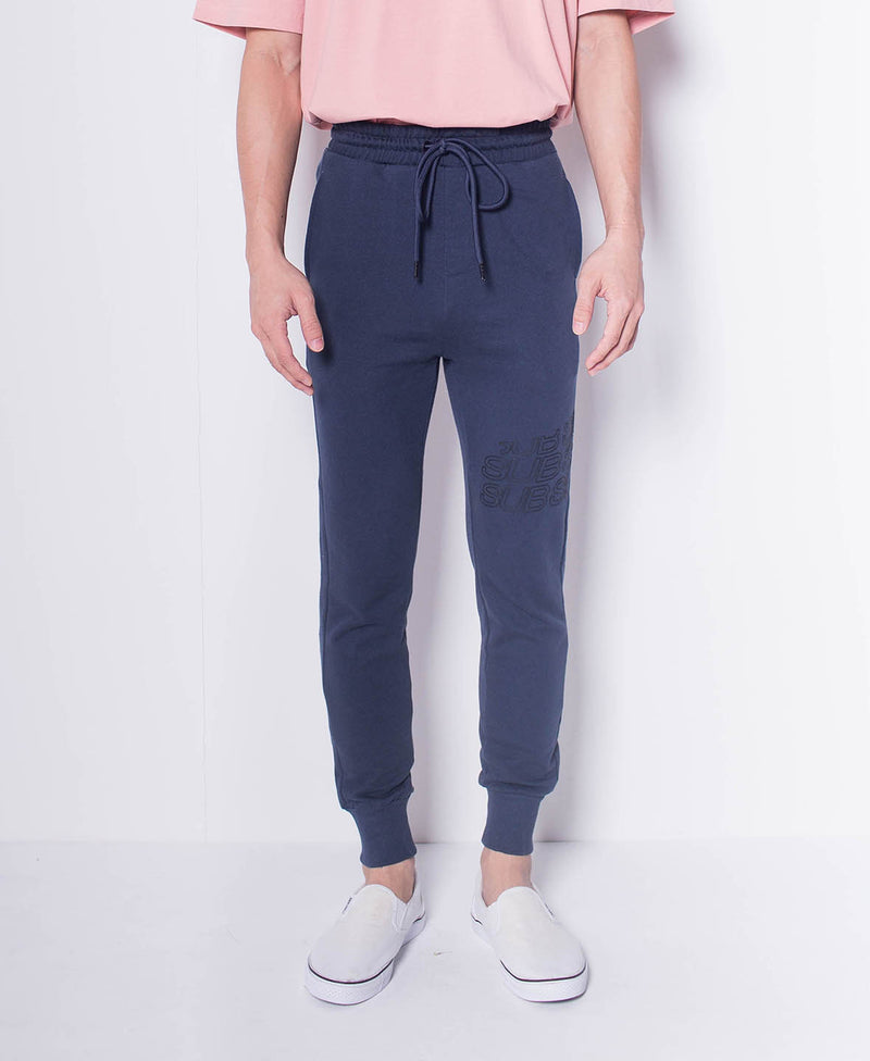 Men Knit Long Jogger With Logo Prints - Navy - H0M518