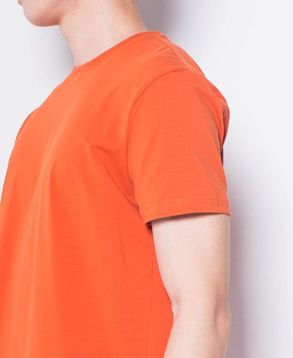 Men Short Sleeve Basic Round Tee - Orange