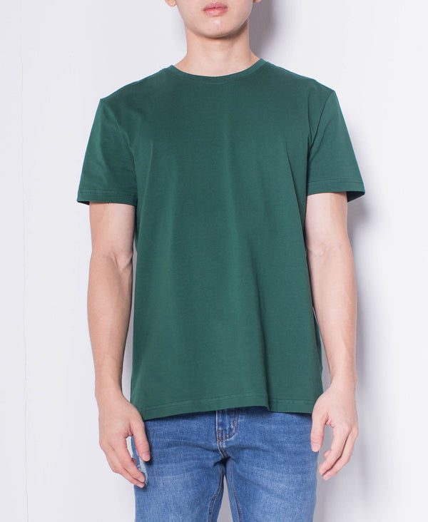 Men Short Sleeve Basic Round Tee - Green