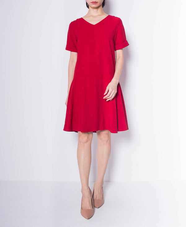 Women Short Sleeve Flare Dress - Maroon