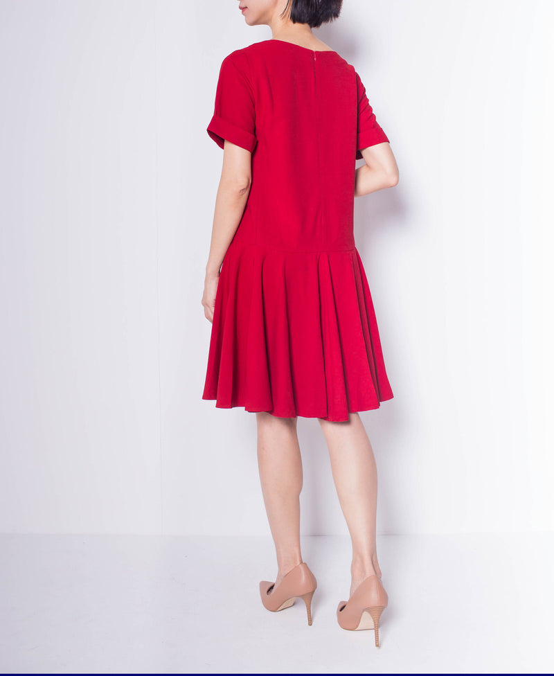 Women Short Sleeve Flare Dress - Maroon - H0W802