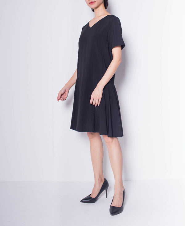 Women Short Sleeve Flare Dress - Black