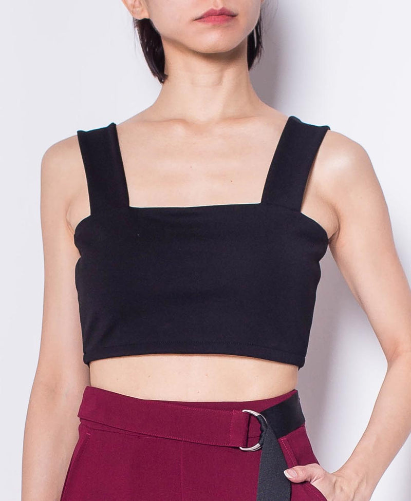 Women Stretchable Cropped Cami Top - Black