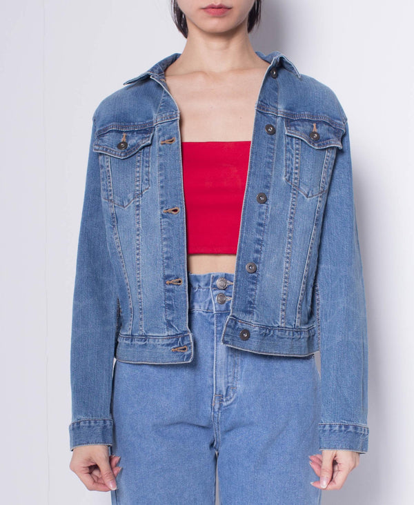Women Denim Jacket With Vintage Washing - Blue
