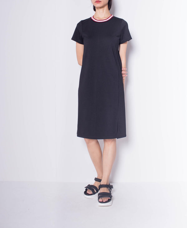 Women Short Sleeve Slip Dress - Black