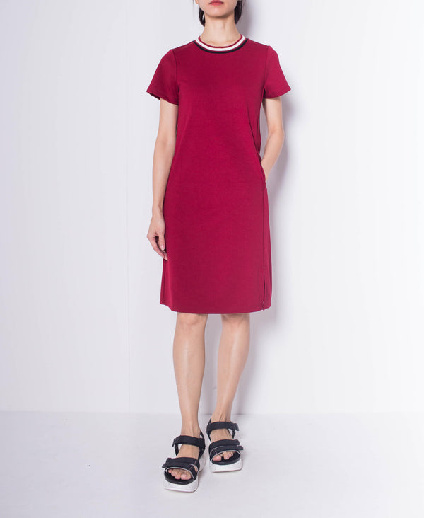 Women Short Sleeve Slip Dress - Maroon